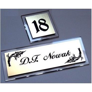Tabliczka na drzwi na szkle akryl. 13x5 cm z numerem